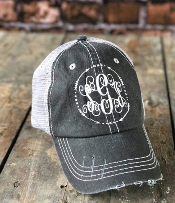 Monogram Trucker Hat for Women Distressed Trucker Hat  d032452384b