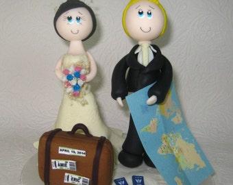 Custom wedding cake topper, travel cake topper, traveler bride and groom, travelers cake topper, tourist cake topper