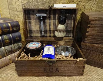 ad5b3a1316 Personalized Shaving Kit wooden Shave Kit Groomsmen Gift Box Set. Unique  Mens Gift Rustic
