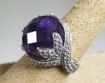925 FP Sterling Silver and Purple Amethyst Crystal Ring Size 8.25