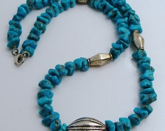 """VINTAGE SOUTHWESTERN 925 Sterling Silver Turquoise Beaded Dome Necklace 18"""""""