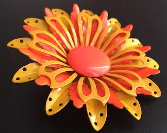 Vintage orange and yellow flower brooch