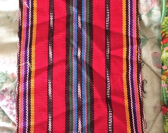 Pentecost Red Guatemalan Ikat Woven fabric Clergy Stole Ethnic Tribal