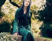 Gabriel Dress - Medieval Style Velvet Dress - Wine, Green, Silver