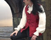 Long 18th Century Style Brocade Waistcoat - Red