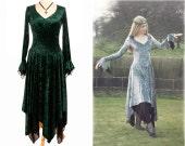 Velvet Pixie / Fairy / Elven style dress - Layered handkerchief hem - XL Silver - Last One!