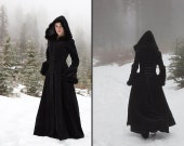 Anastasia Coat - Hooded velvet coat with fur trim