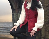 Long 18th Century Style Brocade Waistcoat - Red