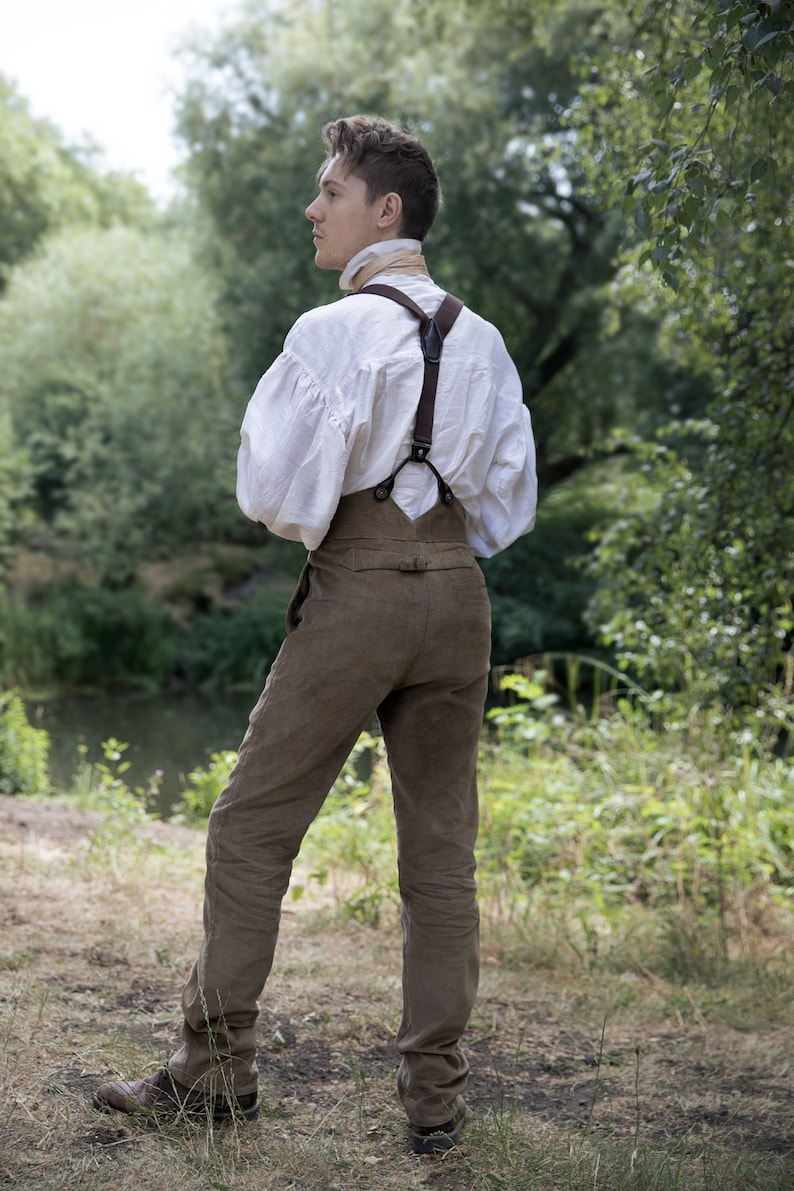 Edwardian Men's Pants, Trousers, Overalls Traditional / Period Style Fishtail Back Trousers $120.82 AT vintagedancer.com