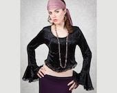 Velvet & Lace Bell Sleeve Top - Gothic/Boho