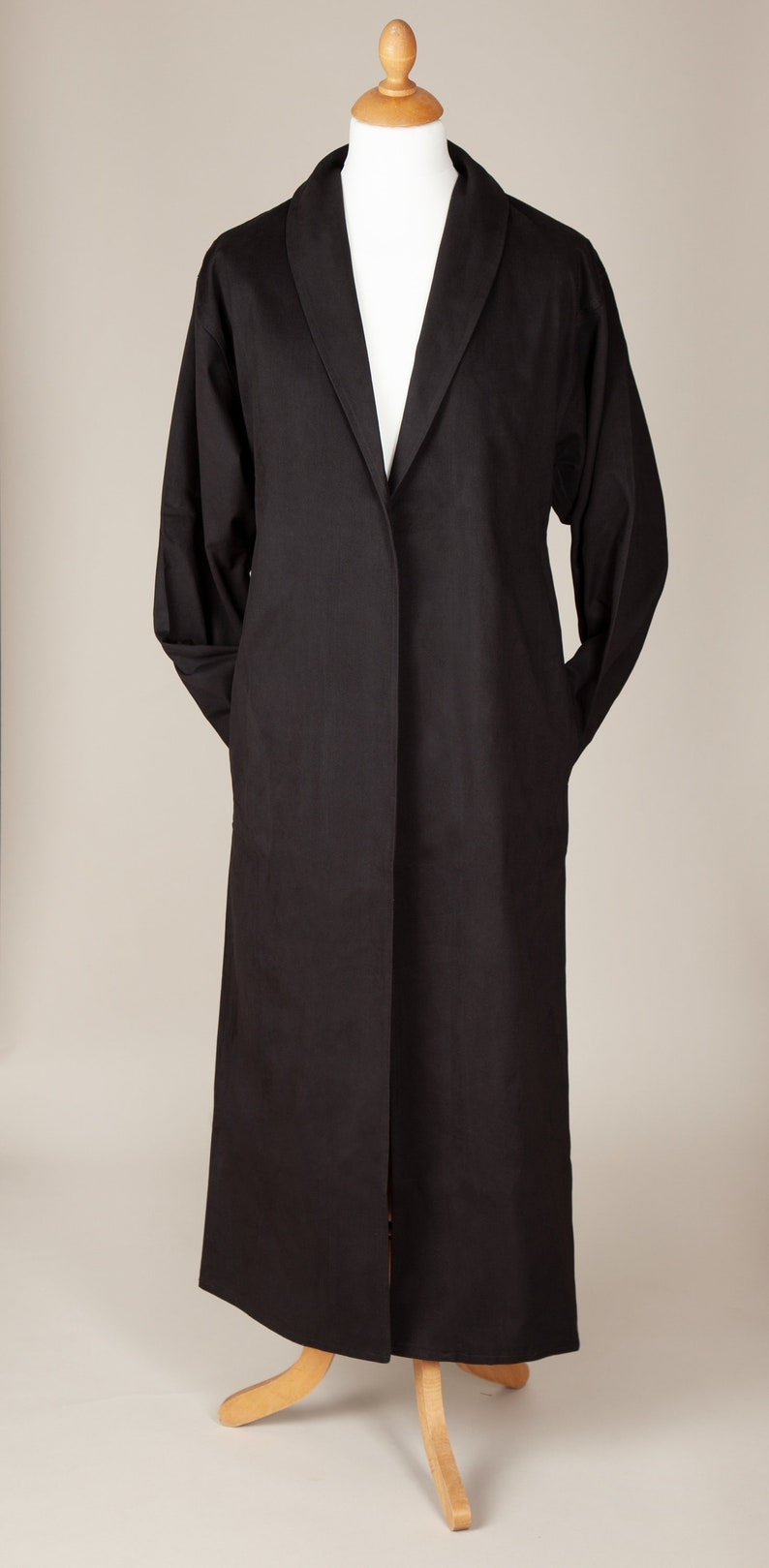 Men's Steampunk Costume Essentials Classic Black Drill Duster Coat $79.95 AT vintagedancer.com