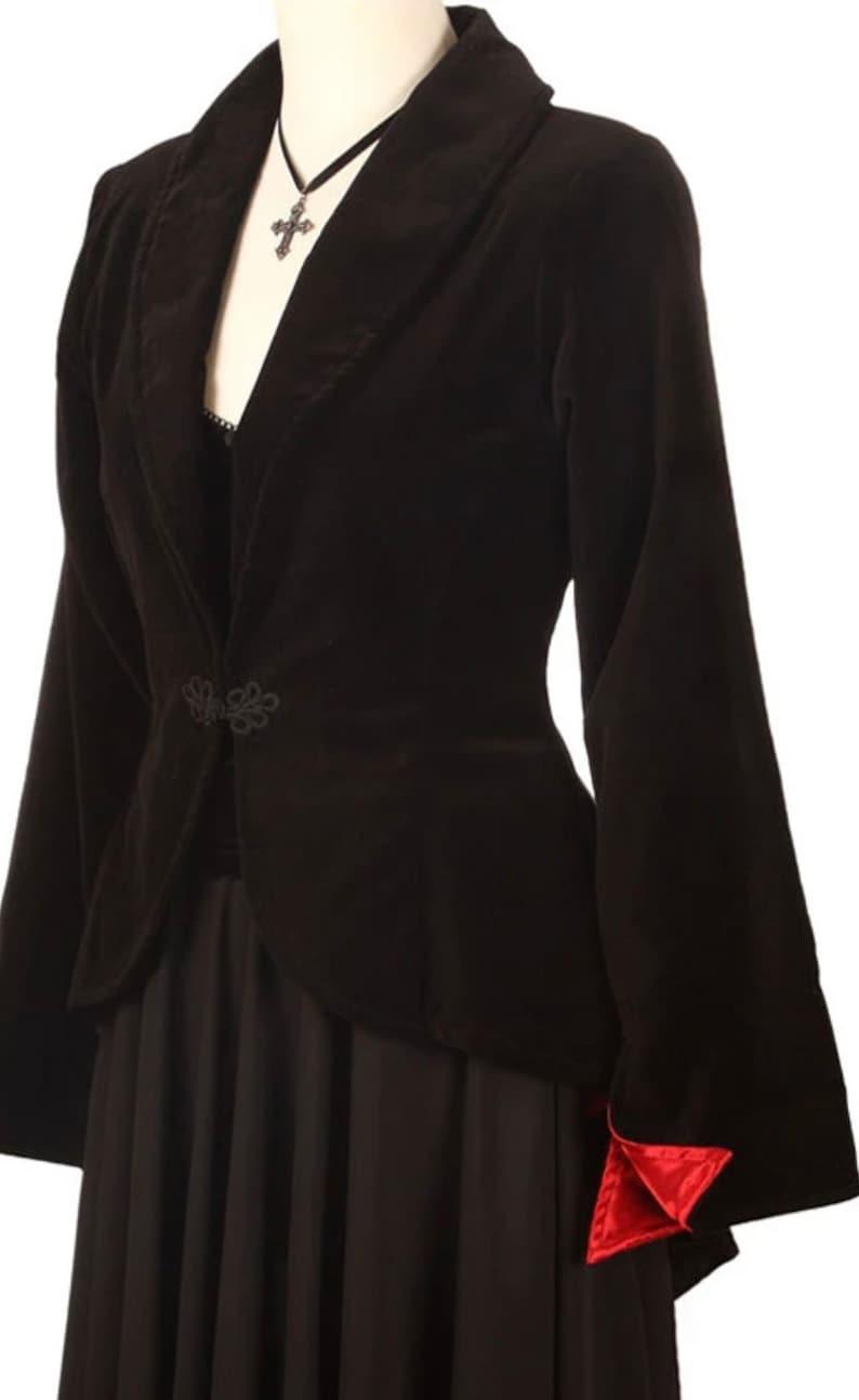 Steampunk Jacket   Steampunk Coat, Overcoat, Cape Drop Back Bustle Jacket Black Velvet $128.78 AT vintagedancer.com