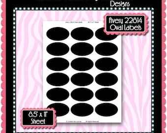 Avery 22814 Oval Labels Template Instant Download PSD And PNG Formats Temp511 Napkin Ring Silverware Wrap Digital Collage Sheet