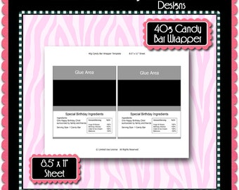 Full Size Candy Bar Wrapper Template   Full Size Candy Bar Wrapper Template Instant Download Psd And Etsy
