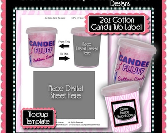 Cotton Candy Tub Preview Mockup Template - Instant Download