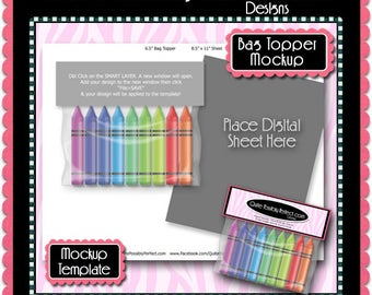 Download Free Crayons Bag Topper Preview Mockup Template - Instant Download Layered PSD Format (Temp745) Digital Collage Sheet Template PSD Template