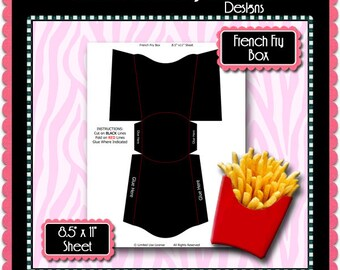 French Fry Box Template Instant Download PSD And PNG Formats Temp551 Digital Bottlecap Collage Sheet