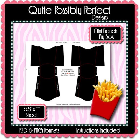 mini french fry box template instant download psd and png etsy