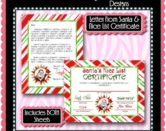 Letter From Santa & Nice List Certificate -  Instant Download JPEG (M102) Digital JPG to Personalize