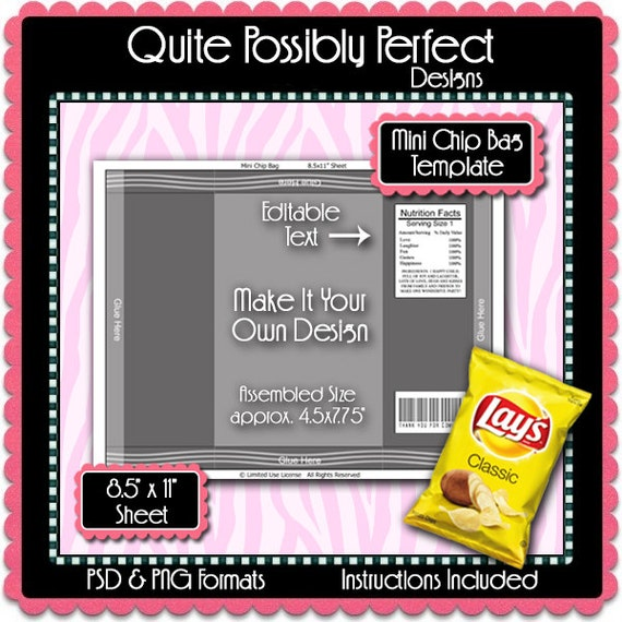 Mini Chip Bag Template Instant Download Psd And Png Formats Etsy