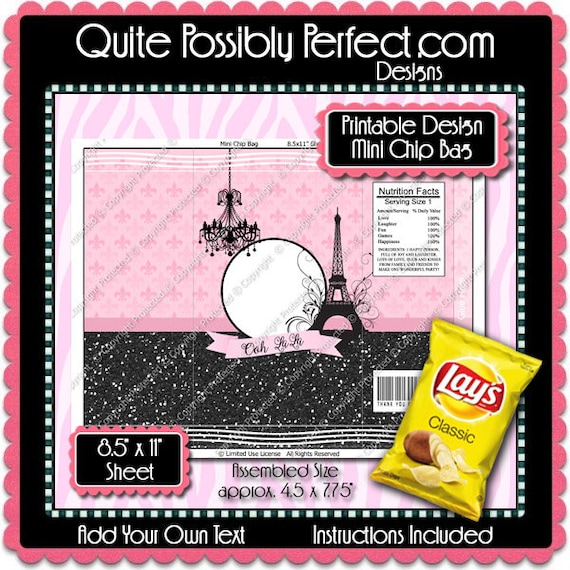Printable French Flair Mini Chip Bag Instant Download Etsy