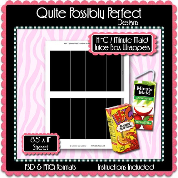 juice box wrapper 1 template instant download psd and png etsy