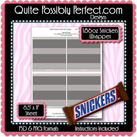 Full Size Candy Bar Wrapper Template Instant Download Psd And Etsy