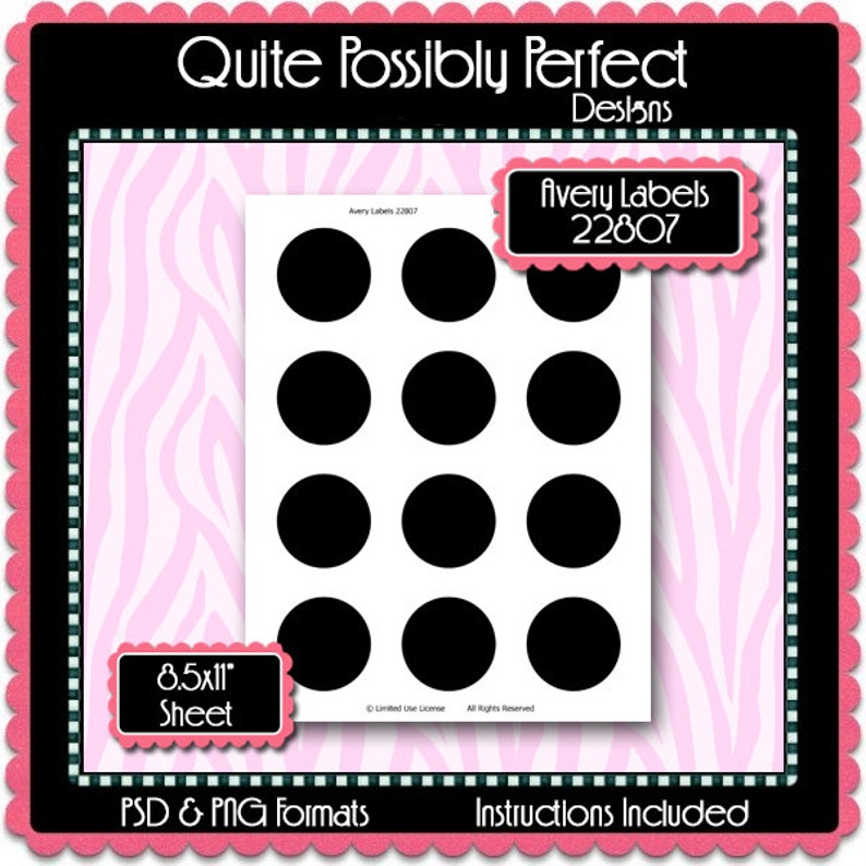 Template 22807 | 2 Circles Avery Labels 22807 Template Instant Download Etsy
