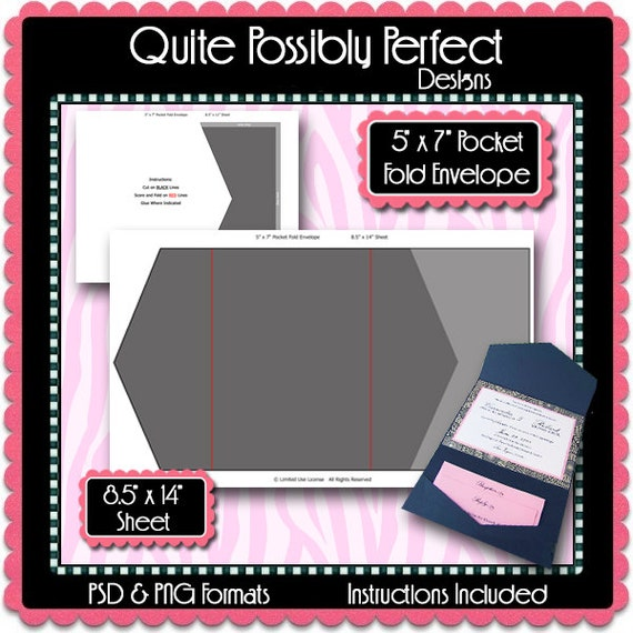 5x7 pocket fold envelope template instant download psd etsy