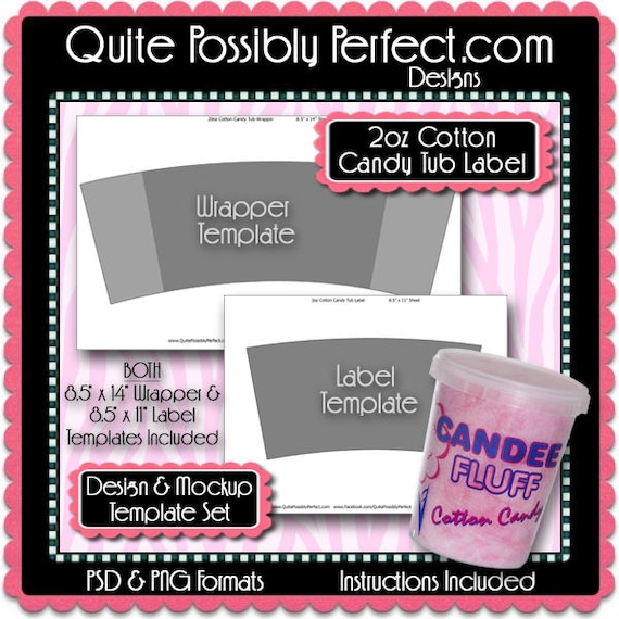 Cotton Candy Tub Label & Wrapper Templates Instant Download