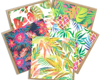 Leafy Tropicals Variety Notecard Set, Greeting Cards, Tropical Cards, Floral cards, Stationary set, Thank you cards, Hawaii inspired gifts