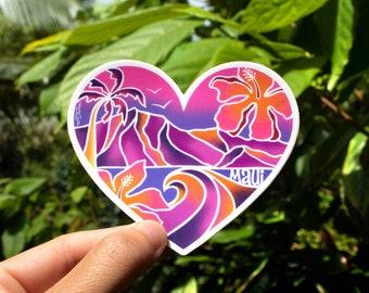 Maui Heart Scenic Purple Sticker - Small, Tropical Sticker, Heart Sticker, Maui Stickers, Hawaii inspired stickers, Aloha Stickers, Hearts