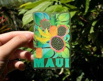 Maui Fruit Sticker - Small, Tropical Stickers, Flower Stickers, Maui Stickers, Pineapple art, Aloha Stickers, Laptop Stickers