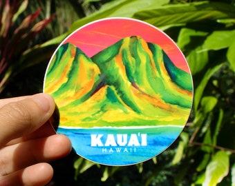 Na Pali Circle Sticker - Medium, Tropical Sticker, Circle Sticker, Na Pali Coast art, Hawaii inspired stickers, Aloha Stickers, Scenic art