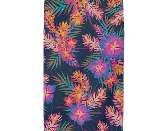 Rainbow Hibiscus Navy Beach Towel, Floral Towel, Bath Towel, Tropical Towel, Hawaiian print, Island style Towels, Watercolor art,