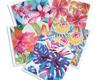 Watercolor Floral Variety Notecard Set, Greeting Cards, Tropical Cards, Floral cards, Stationary set, Thank you cards, Hawaii floral cards