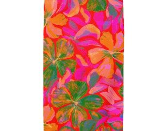 Floral Fusion Beach Towel, Floral Towel, Bath Towel, Tropical Towel, Aloha print, Island style Towels, Watercolor art,
