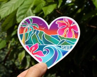 Maui Heart Scenic Sticker - Small, Tropical Sticker, Heart Sticker, Maui Stickers, Hawaii inspired stickers, Aloha Stickers, Hearts