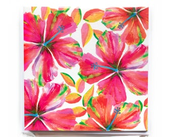 Red Hibiscus Notecard Set - Greeting Cards, Tropical Cards, Stationary set, Thank you cards, Hawaii inspired gifts, Watercolor Hibiscus art