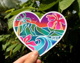Maui Heart Scenic Sticker - Medium,  Tropical Sticker, Heart Sticker, Maui Stickers, Hawaii inspired stickers, Aloha Stickers, Hearts