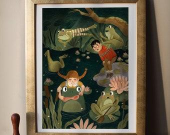 "leap frog | Giclée Art Print, 5x7"", 8x10"", 11x14"""