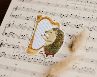 hedgehog harpist sticker