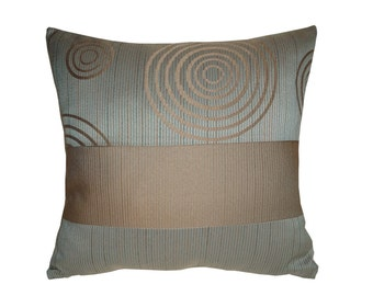 Teal Blue Decorative Pillow Cover Square Teal And Ivory