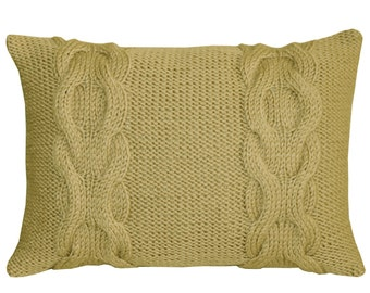 Decorative Cable Knit Pillow in beige, Decorative Pillow, HAND KNITTED PILLOW, Throw Pillow Covers, Wool pillow,Lumbar cushion