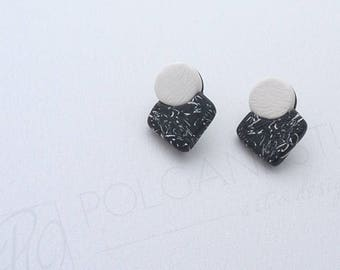 Black and White Stud Earrings Geometric Minimalist Jewelry, Surgical Steel Posts. Ready to ship.