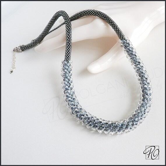 Kette Grau Silber Perlen Perle Häkeln Weiss Geschenk Für Etsy