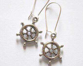 Nautical Ship Wheel Tibetan Silver Drop Earrings