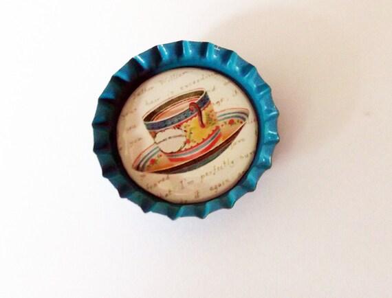 Mignon Turquoise Bottlecap aimant avec tasse de thé Vintage Design
