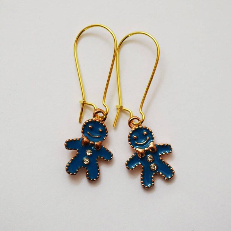 d7e98b2b94c92 Cute Gold Tone and Blue Enamel Gingerbread Man Drop Earrings