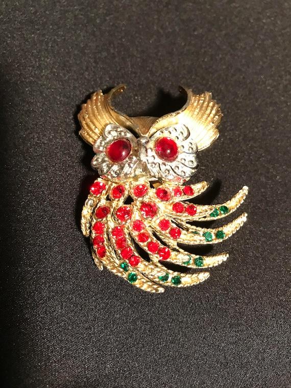 Owl Rhinestones Movable Body Pin Brooch Like Trafari Firebird